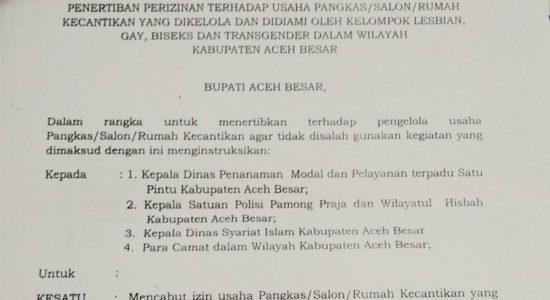 Intruksi Bupati Aceh Besar: Tertibkan Usaha Salon yang Dikelola oleh LGBT