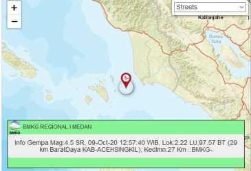 Gempa Bumi Teknonik Goncang Singkil