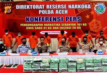 Polda Aceh Ungkap Kasus Narkotika Sebanyak 101 Kilogram