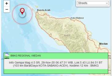 Gempa 4,5 SR Guncang Kota Sabang